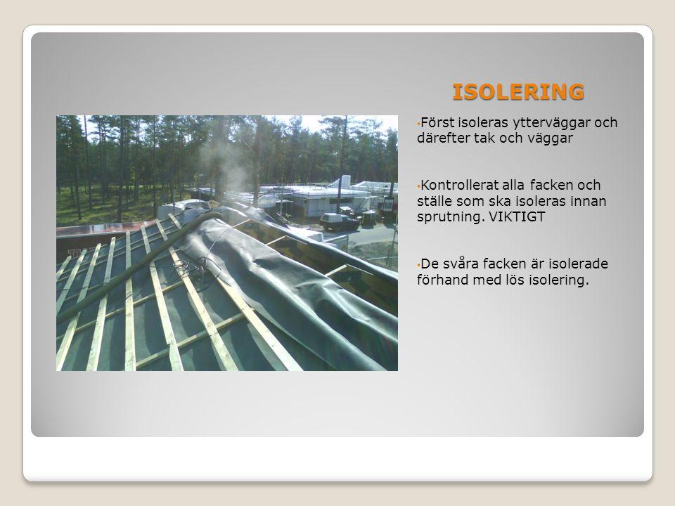 ISOLERING Först isoleras ytterväggar och därefter tak och väggar