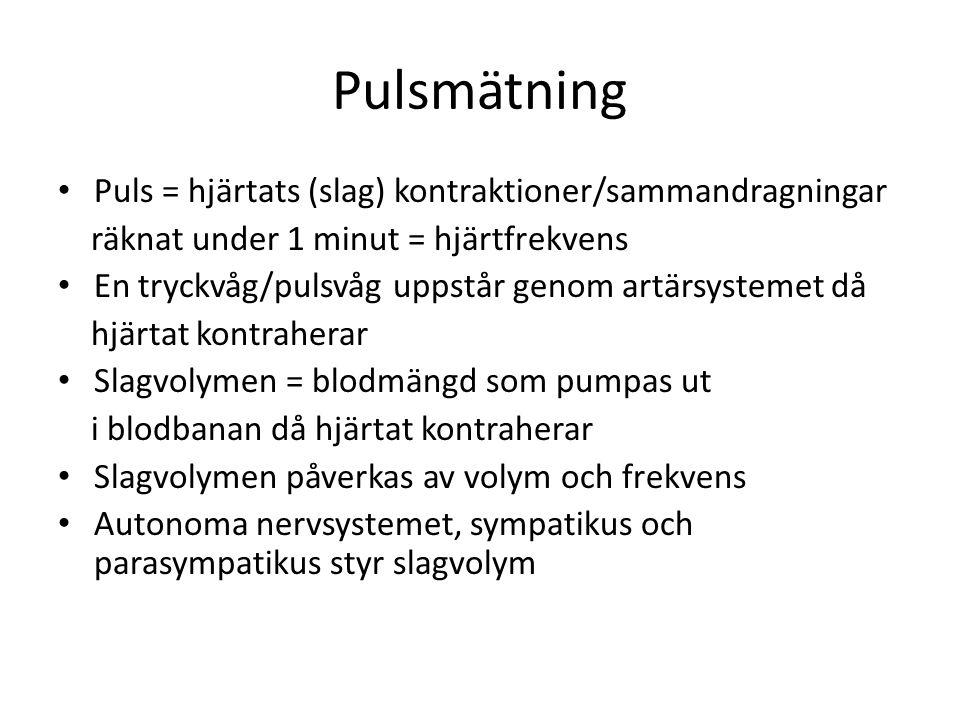 Pulsmätning Puls = hjärtats (slag) kontraktioner/sammandragningar