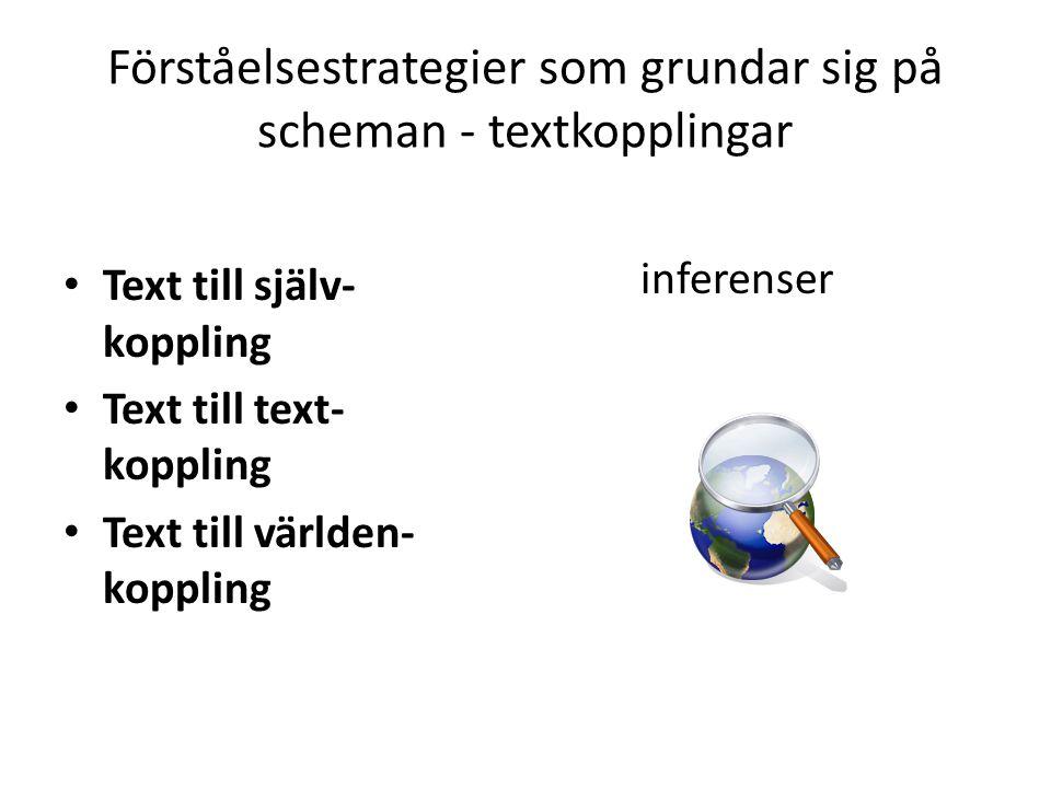 Förståelsestrategier som grundar sig på scheman - textkopplingar
