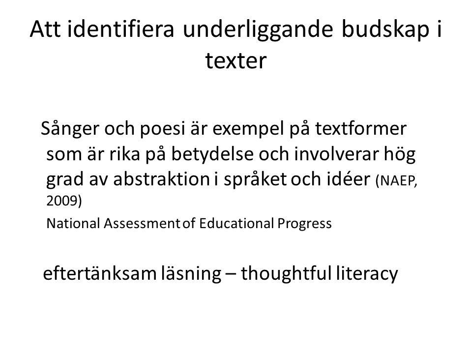 Att identifiera underliggande budskap i texter
