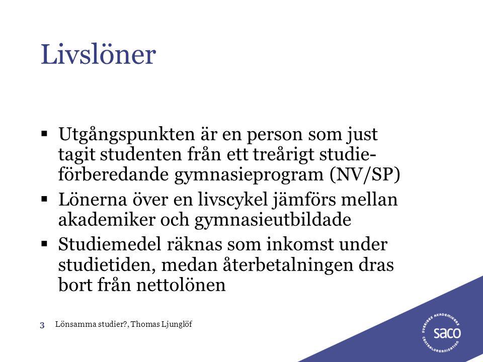 Livslöner Utgångspunkten är en person som just tagit studenten från ett treårigt studie-förberedande gymnasieprogram (NV/SP)