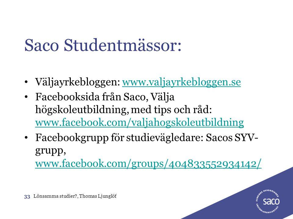 Saco Studentmässor: Väljayrkebloggen: www.valjayrkebloggen.se