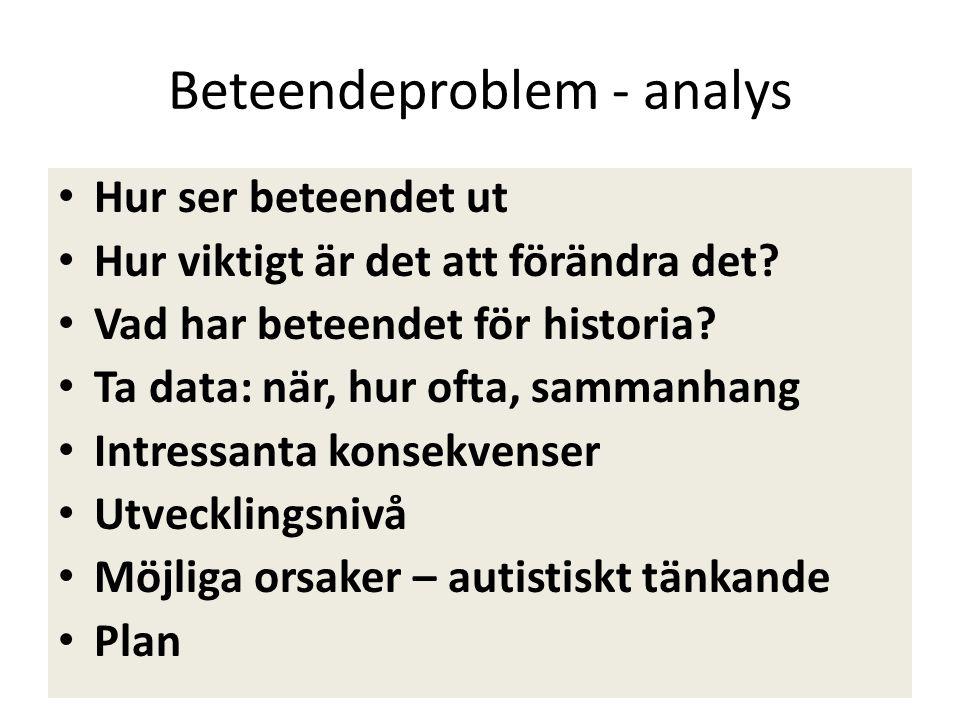 Beteendeproblem - analys