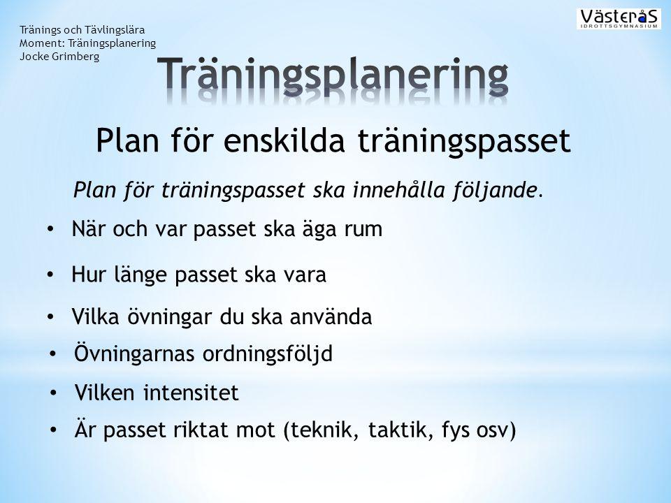 Plan för enskilda träningspasset
