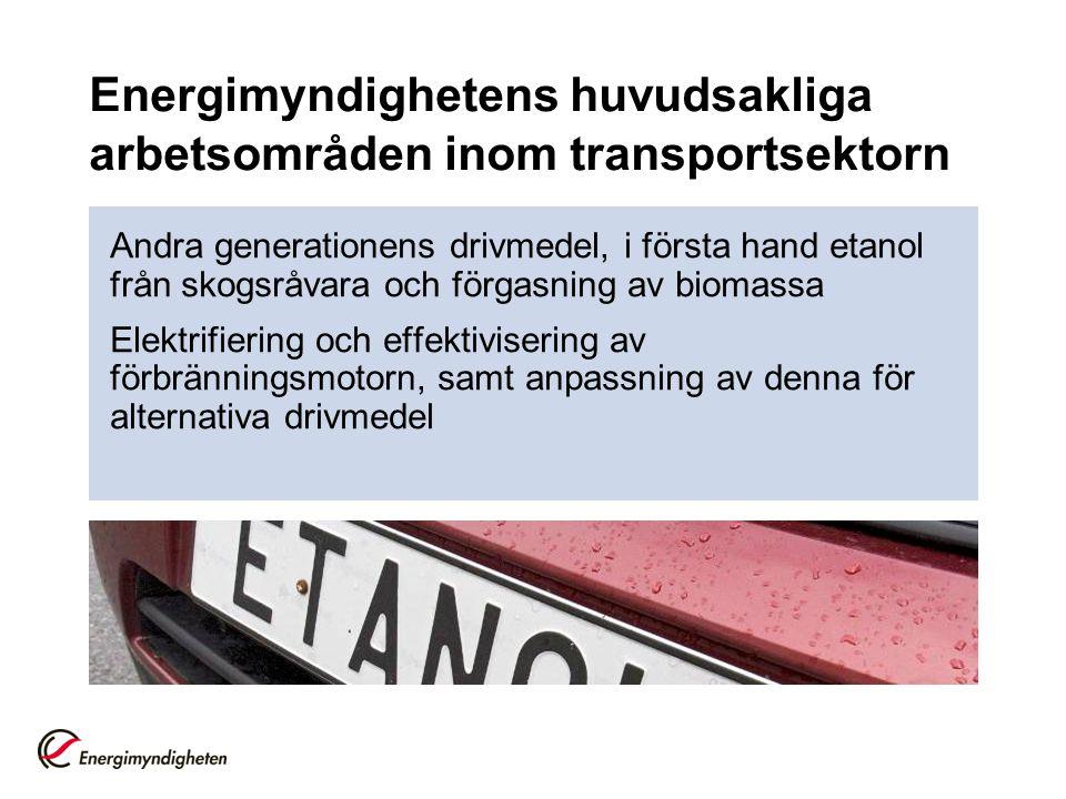 Energimyndighetens huvudsakliga arbetsområden inom transportsektorn