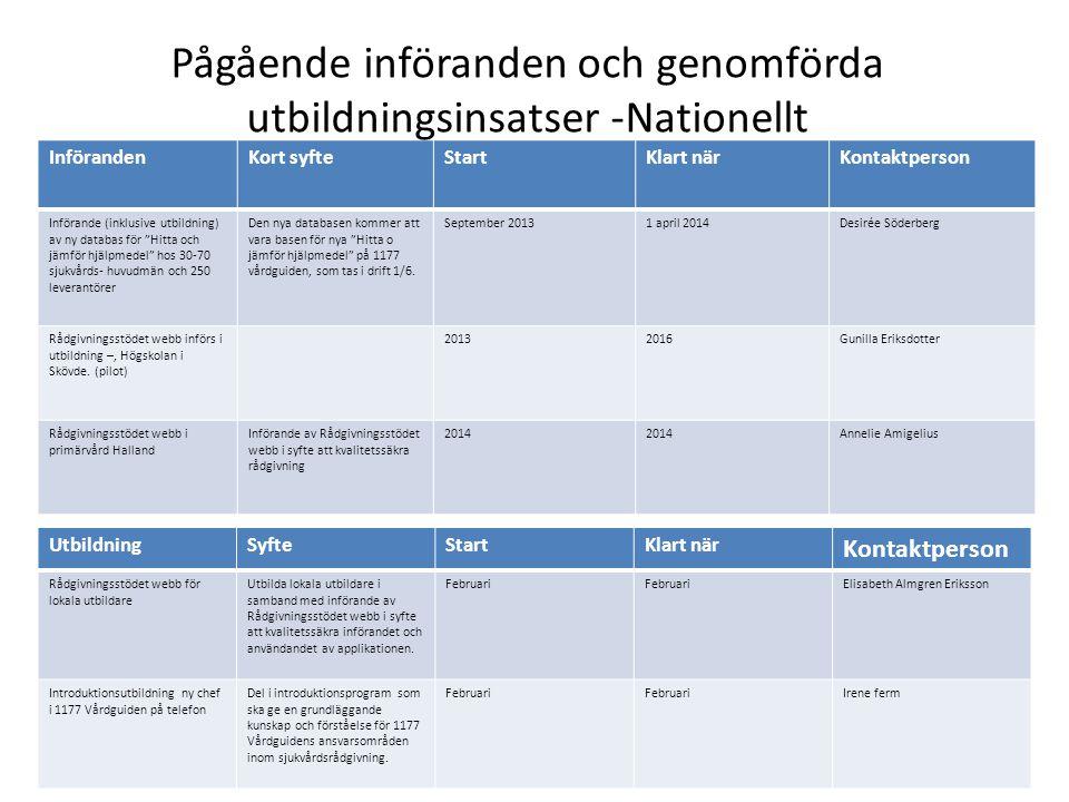 Pågående införanden och genomförda utbildningsinsatser -Nationellt