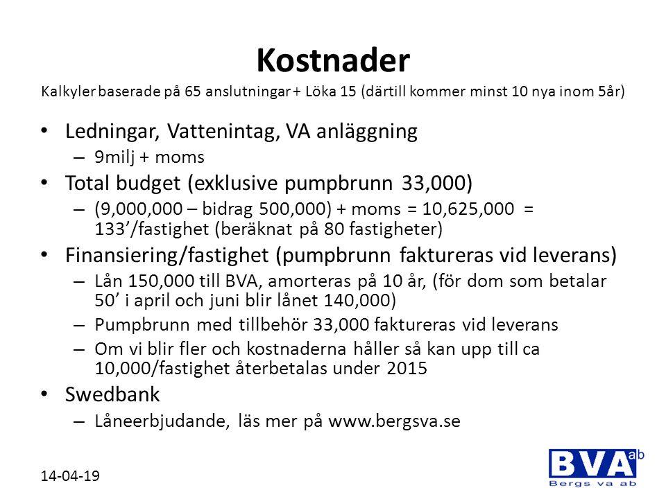 Kostnader Kalkyler baserade på 65 anslutningar + Löka 15 (därtill kommer minst 10 nya inom 5år)