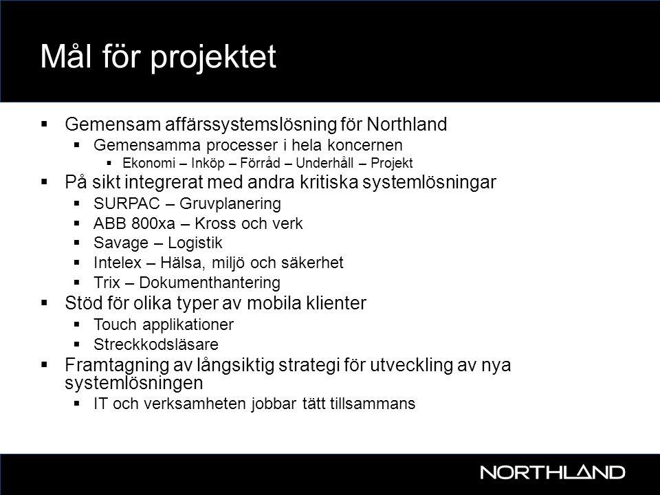Mål för projektet Gemensam affärssystemslösning för Northland
