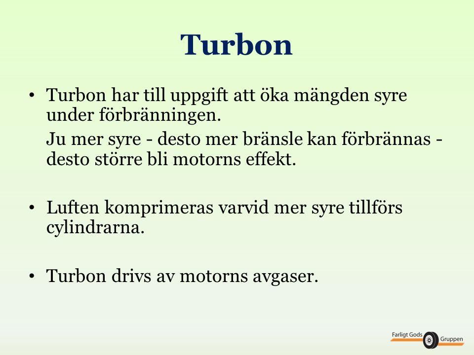 Turbon Turbon har till uppgift att öka mängden syre under förbränningen.