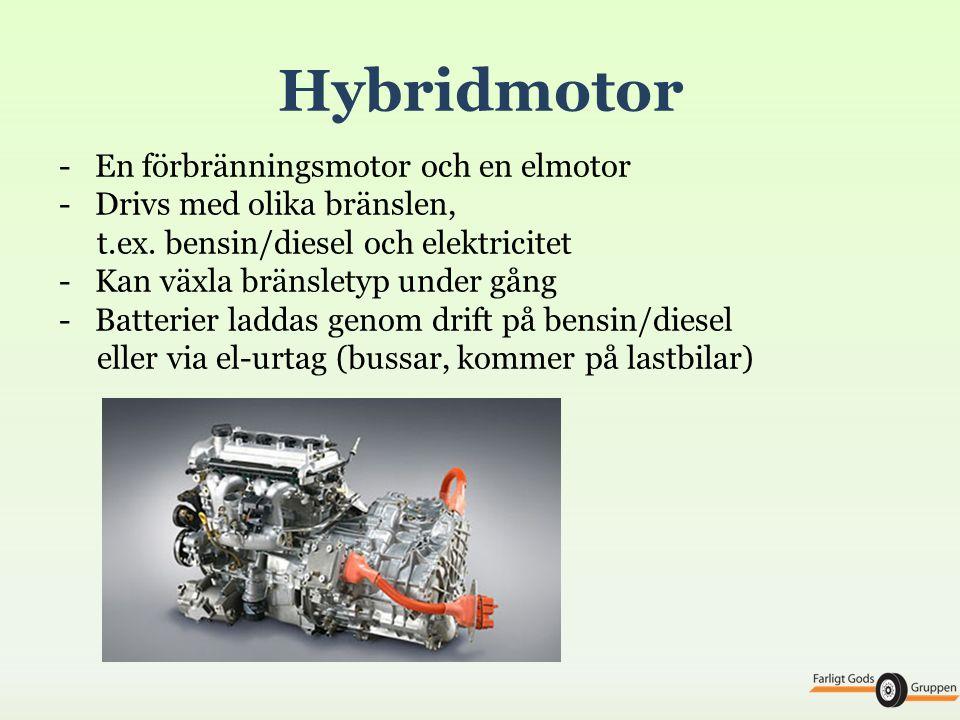 Hybridmotor En förbränningsmotor och en elmotor