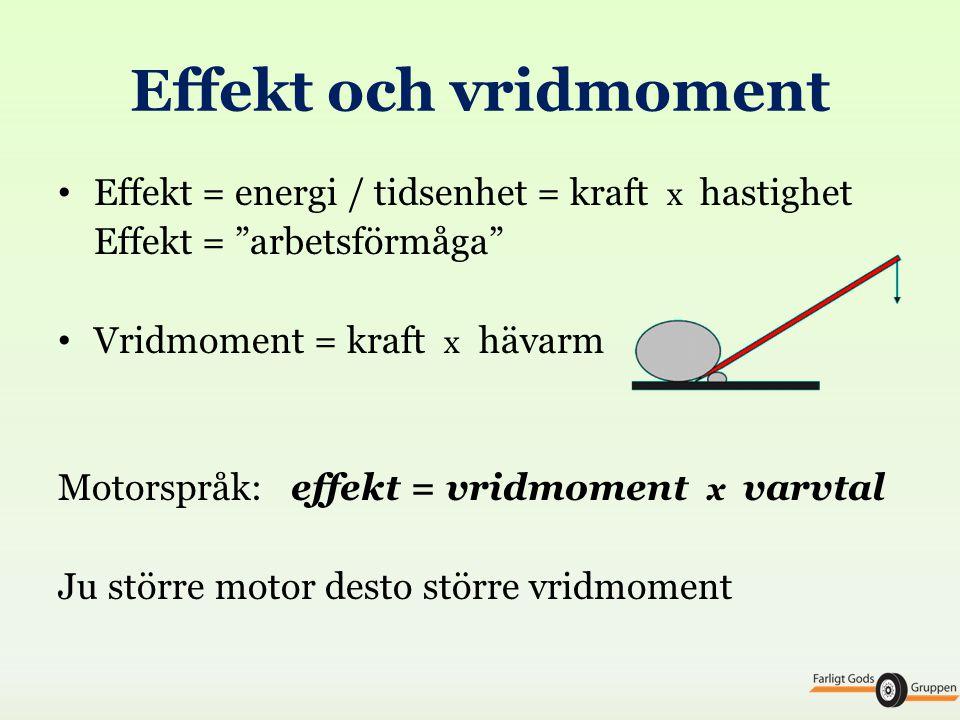 Effekt och vridmoment Effekt = energi / tidsenhet = kraft x hastighet