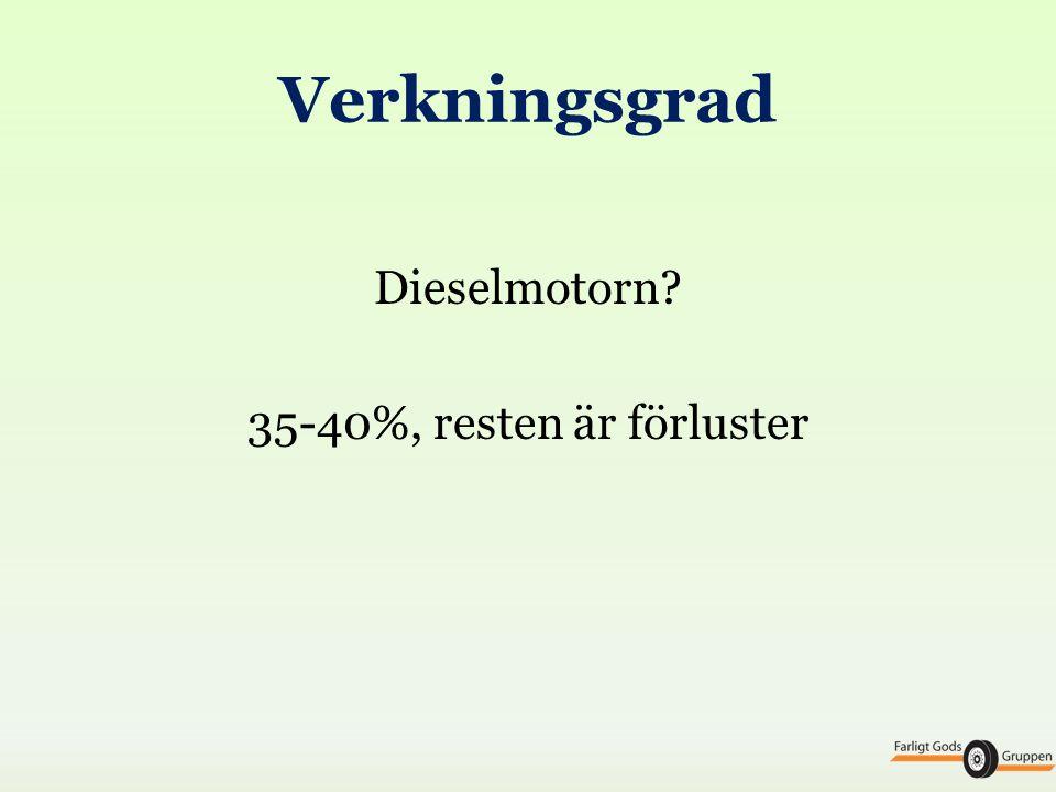 Dieselmotorn 35-40%, resten är förluster