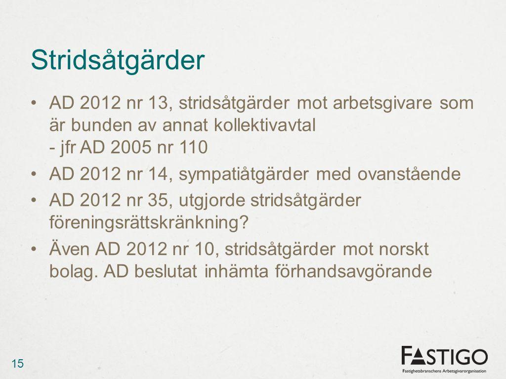 Stridsåtgärder AD 2012 nr 13, stridsåtgärder mot arbetsgivare som är bunden av annat kollektivavtal - jfr AD 2005 nr 110.