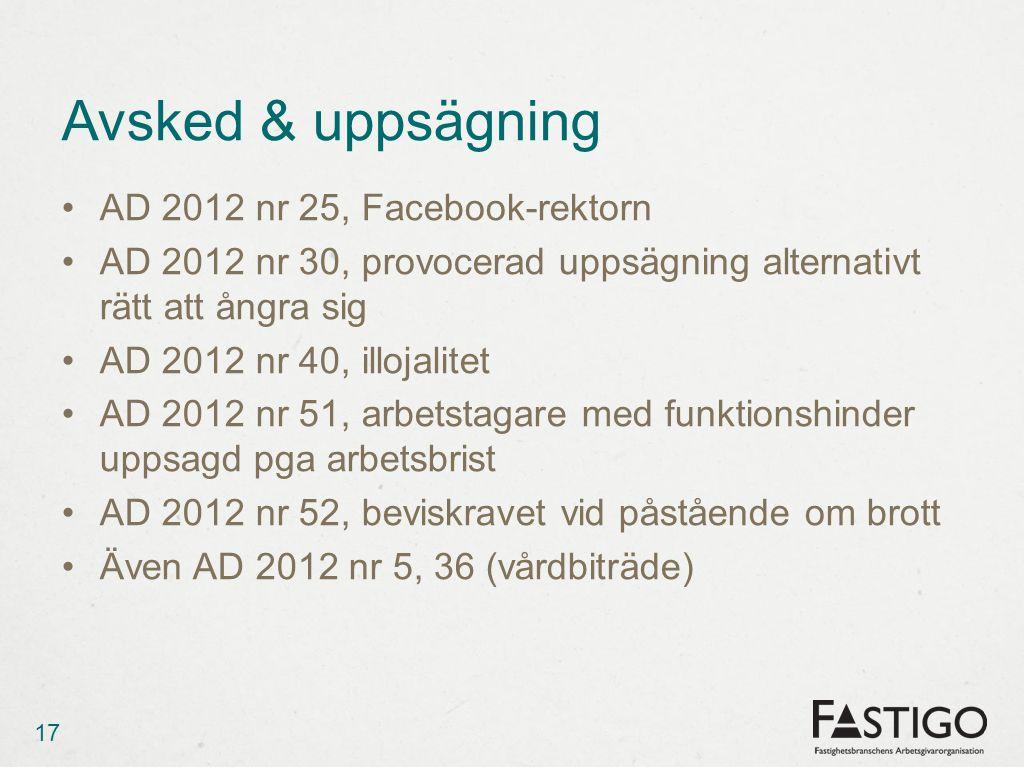 Avsked & uppsägning AD 2012 nr 25, Facebook-rektorn