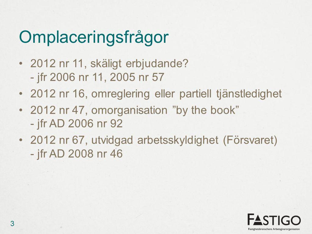 Omplaceringsfrågor 2012 nr 11, skäligt erbjudande - jfr 2006 nr 11, 2005 nr 57. 2012 nr 16, omreglering eller partiell tjänstledighet.