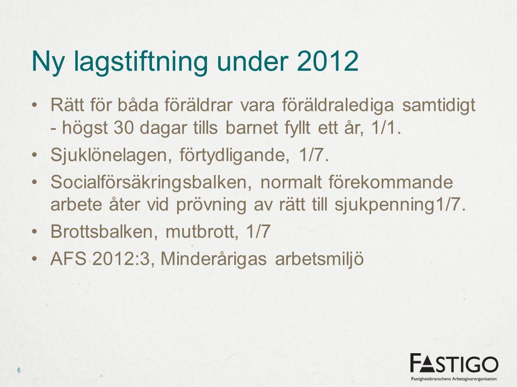 Ny lagstiftning under 2012 Rätt för båda föräldrar vara föräldralediga samtidigt - högst 30 dagar tills barnet fyllt ett år, 1/1.