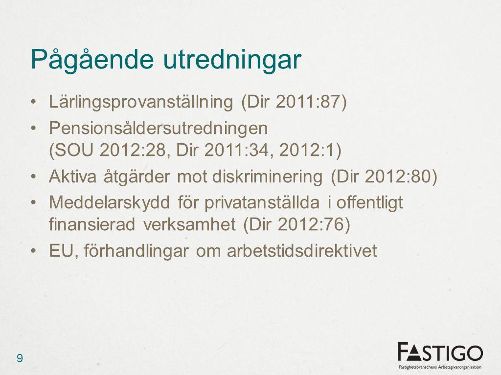 Pågående utredningar Lärlingsprovanställning (Dir 2011:87)