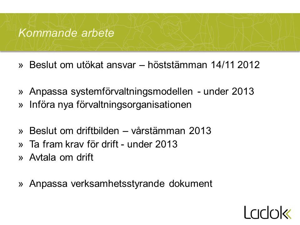 Kommande arbete Beslut om utökat ansvar – höststämman 14/11 2012