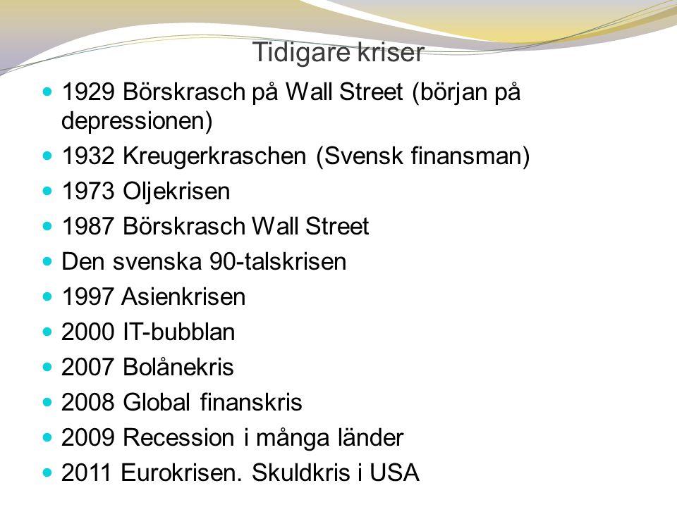 Tidigare kriser 1929 Börskrasch på Wall Street (början på depressionen) 1932 Kreugerkraschen (Svensk finansman)