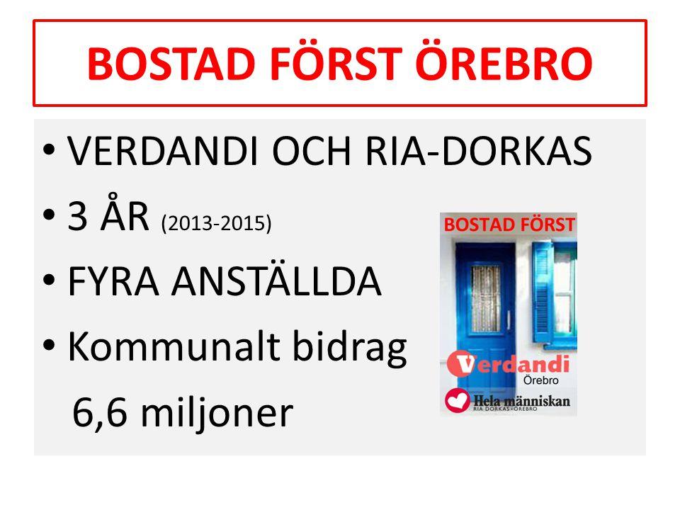 BOSTAD FÖRST ÖREBRO VERDANDI OCH RIA-DORKAS 3 ÅR (2013-2015)