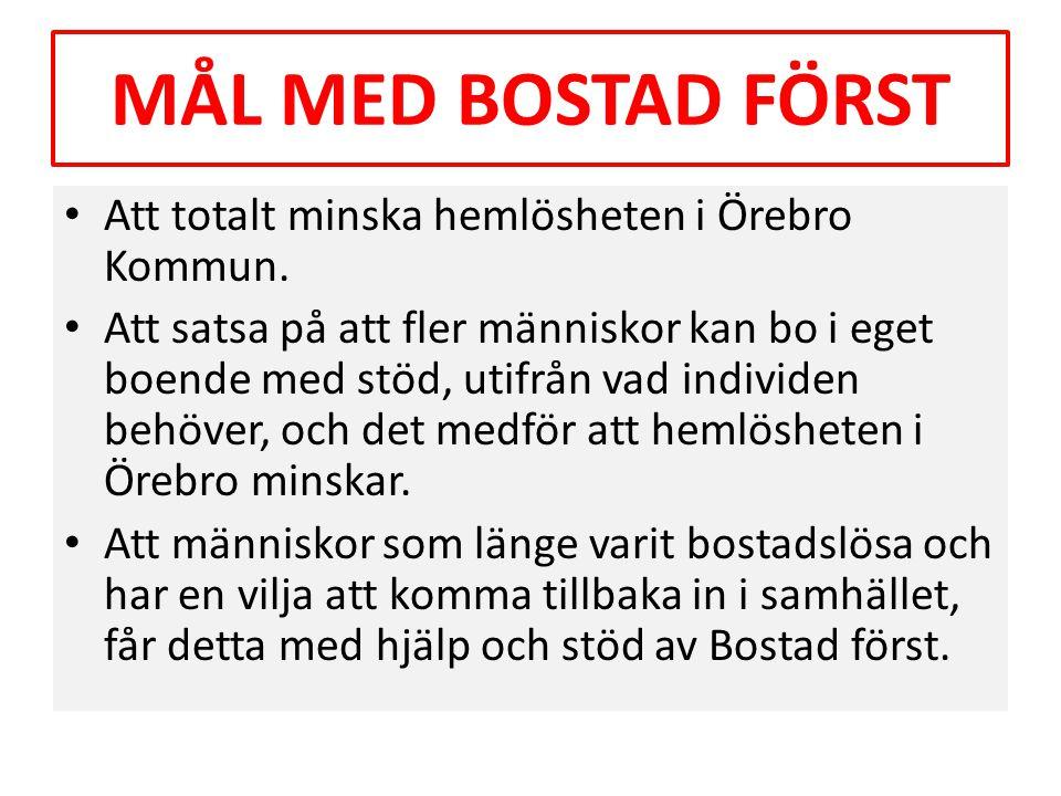 MÅL MED BOSTAD FÖRST Att totalt minska hemlösheten i Örebro Kommun.