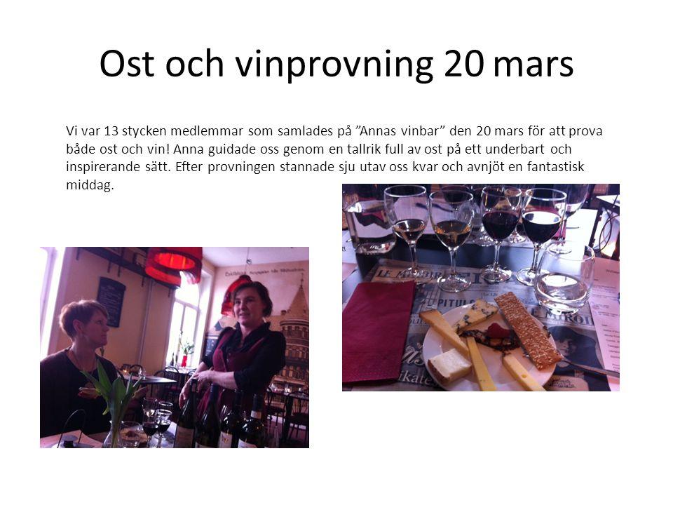 Ost och vinprovning 20 mars