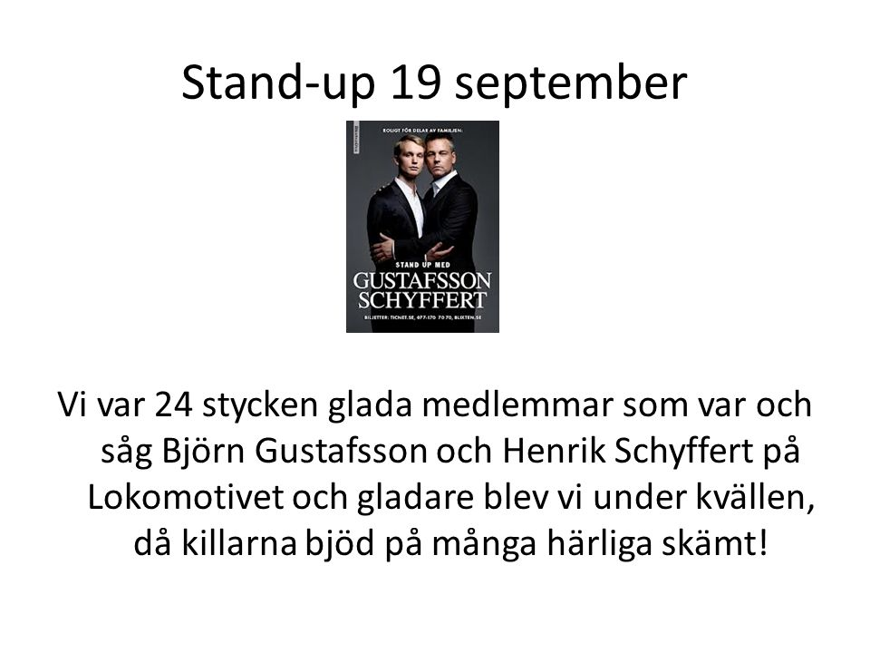 Stand-up 19 september