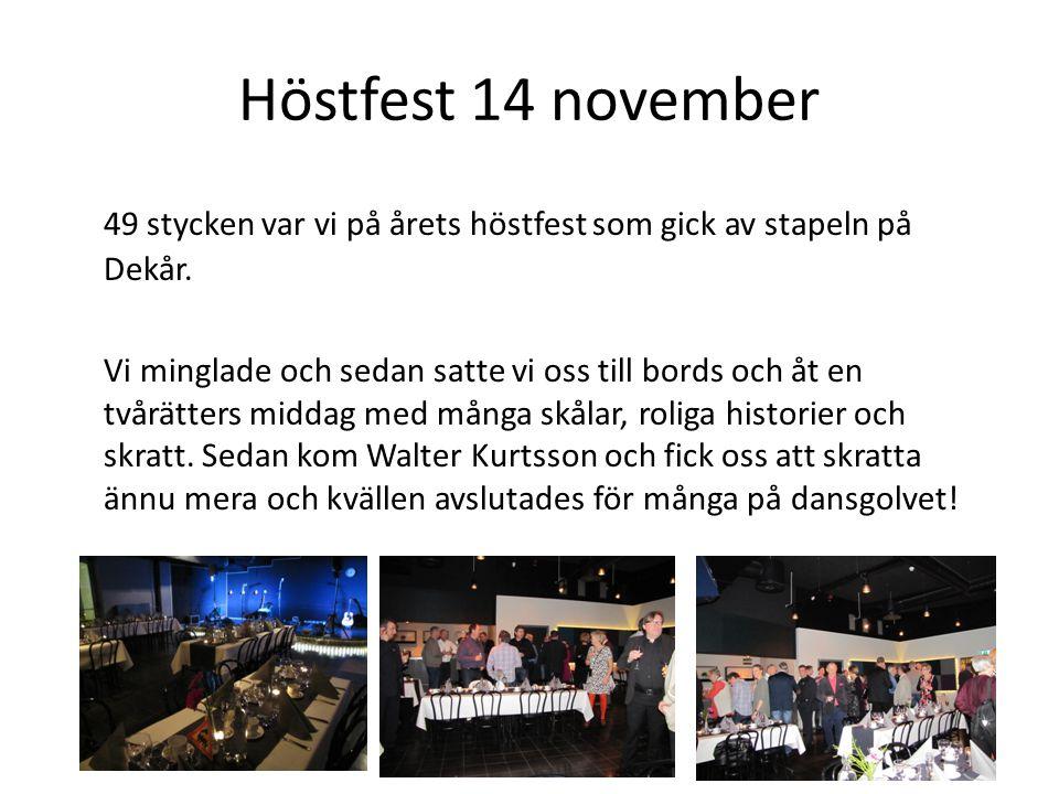 Höstfest 14 november 49 stycken var vi på årets höstfest som gick av stapeln på Dekår.