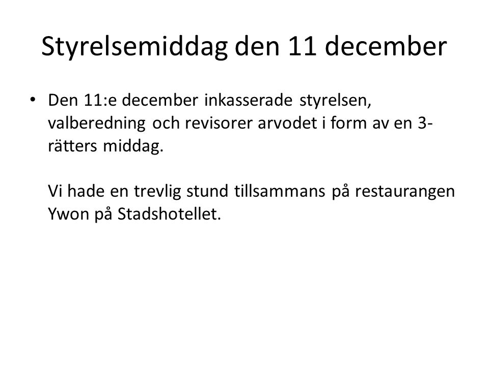 Styrelsemiddag den 11 december