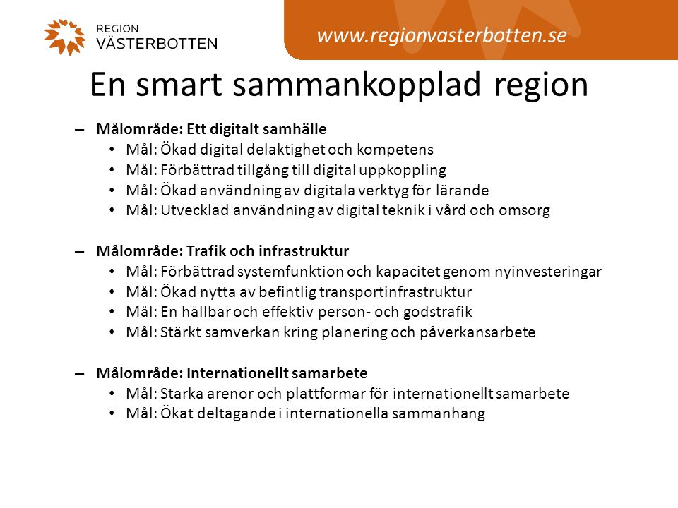 En smart sammankopplad region