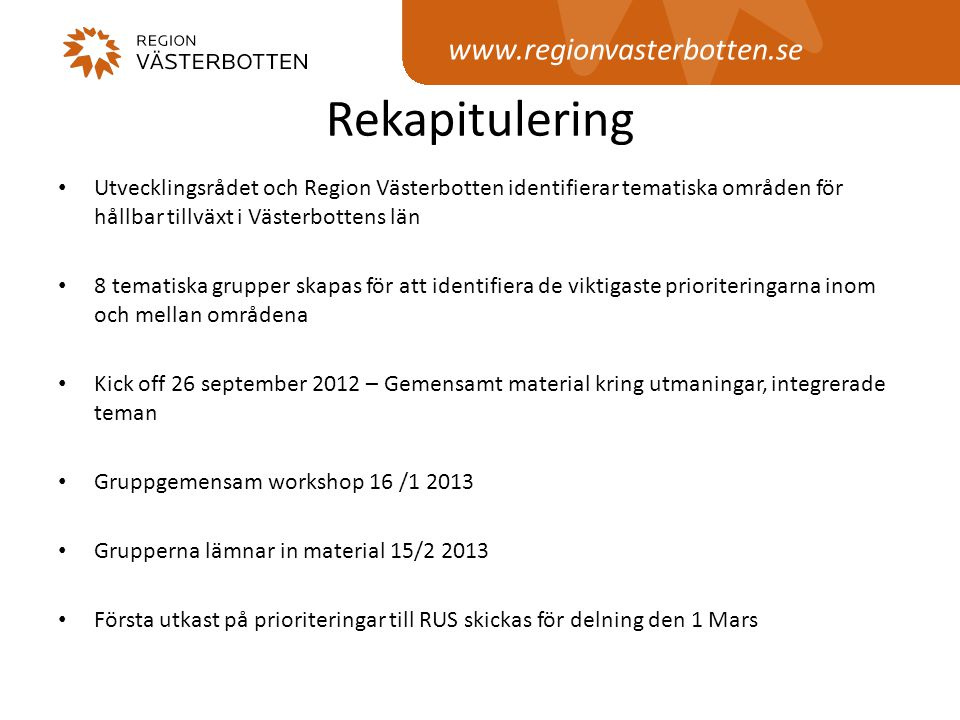 Rekapitulering www.regionvasterbotten.se