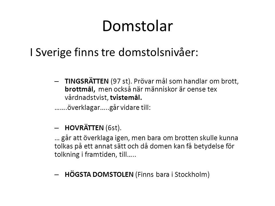 Domstolar I Sverige finns tre domstolsnivåer: