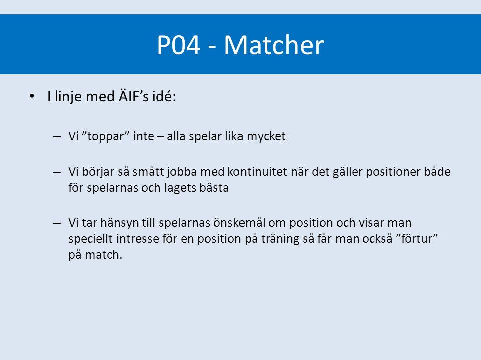 P04 - Matcher Matcher I linje med ÄIF's idé: