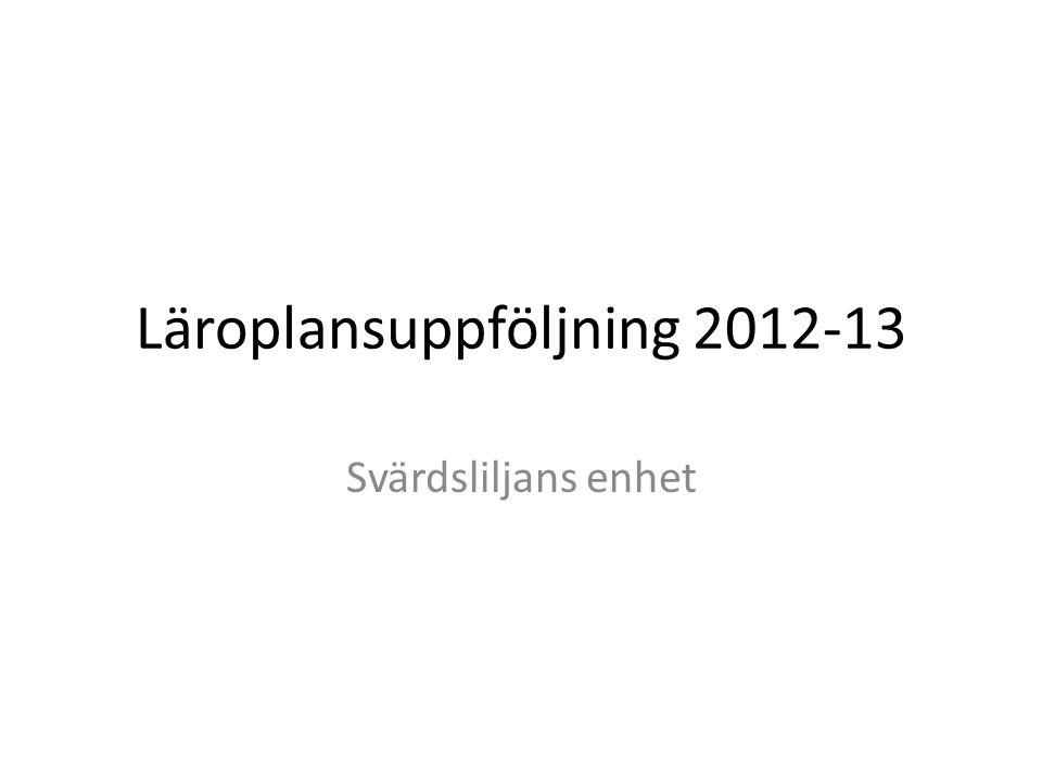 Läroplansuppföljning 2012-13