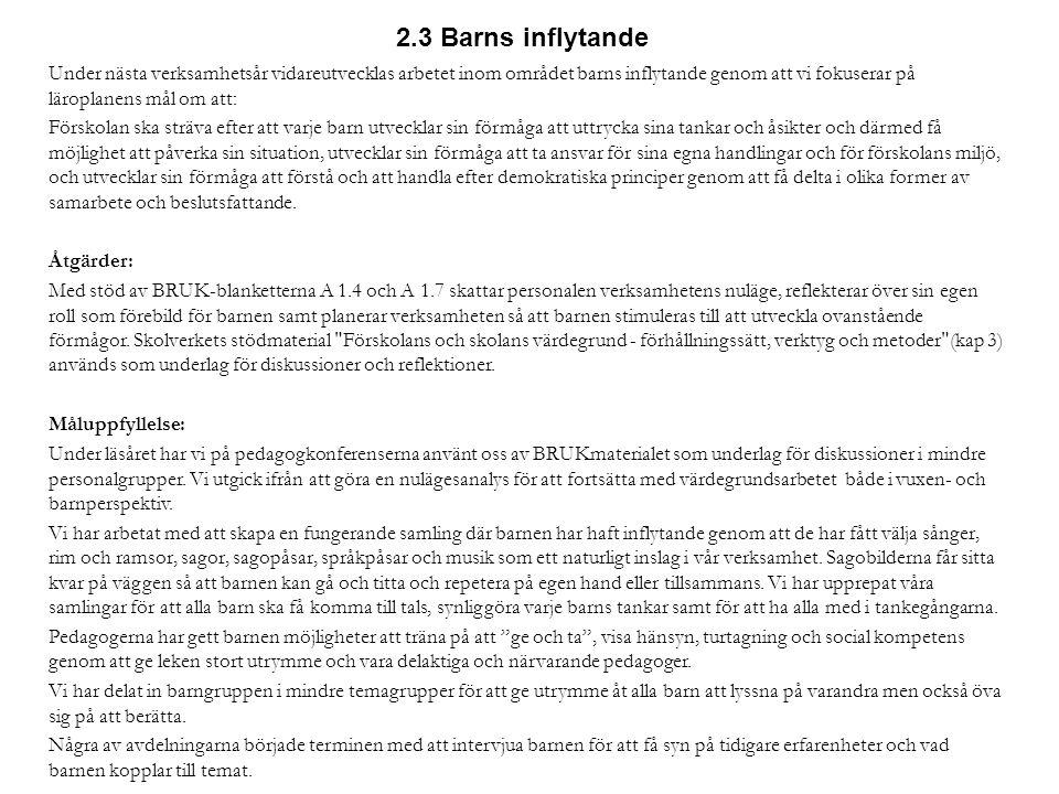 2.3 Barns inflytande