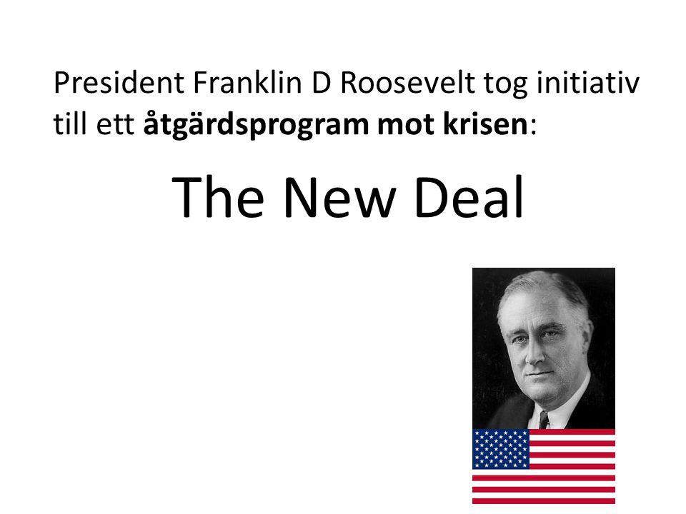 President Franklin D Roosevelt tog initiativ till ett åtgärdsprogram mot krisen: