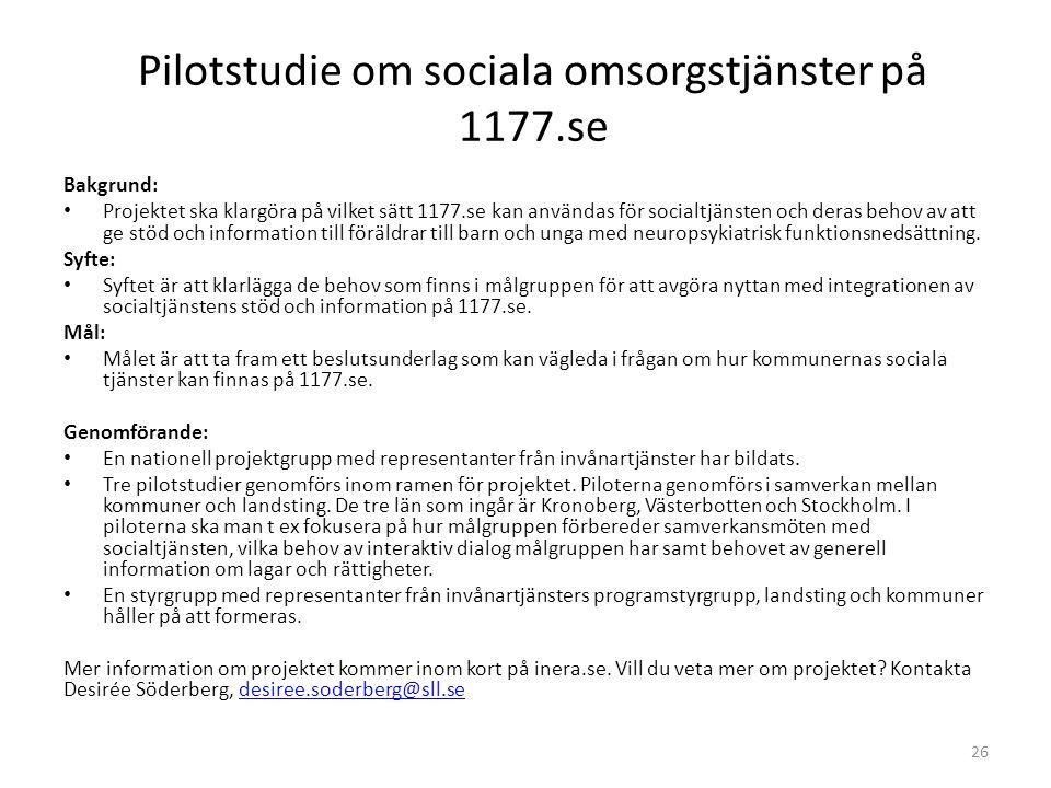 Pilotstudie om sociala omsorgstjänster på 1177.se