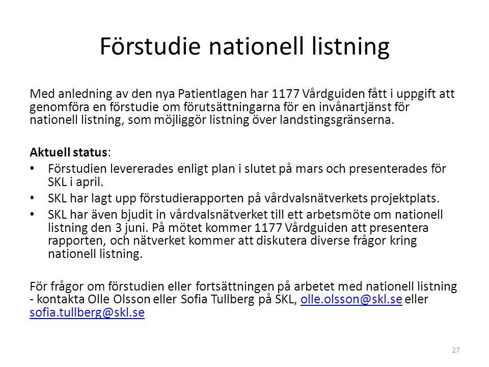 Förstudie nationell listning