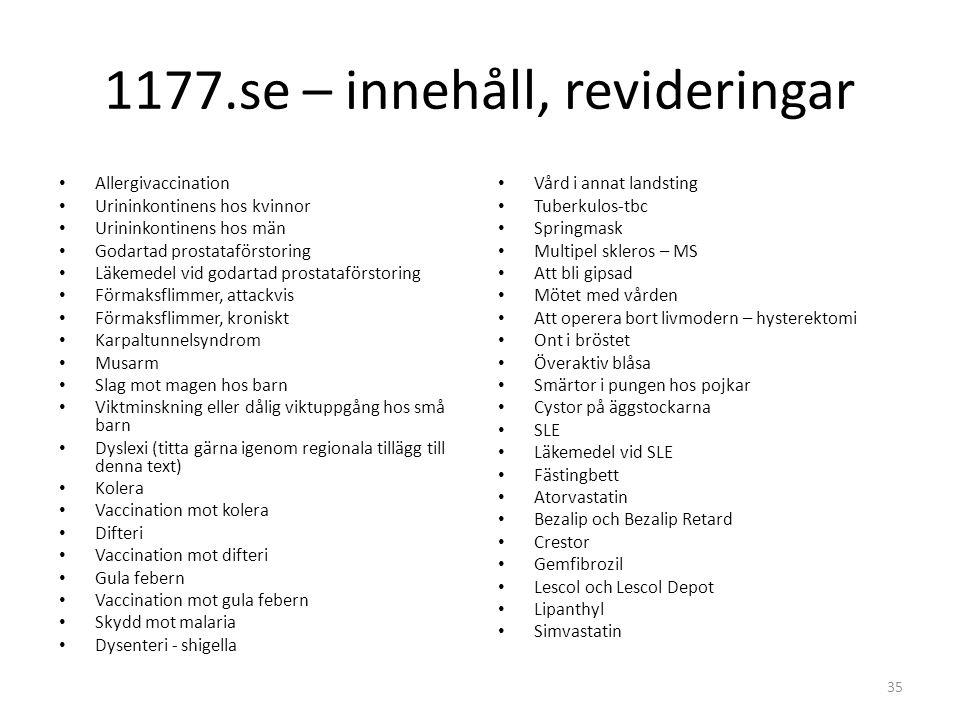 1177.se – innehåll, revideringar