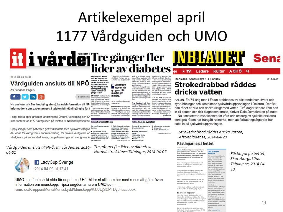Artikelexempel april 1177 Vårdguiden och UMO