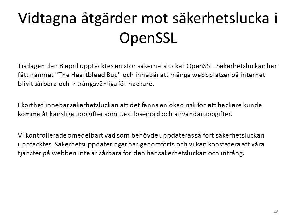 Vidtagna åtgärder mot säkerhetslucka i OpenSSL