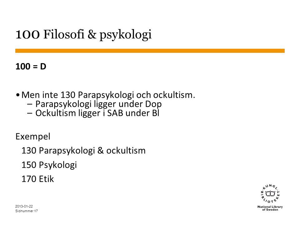 100 Filosofi & psykologi 100 = D