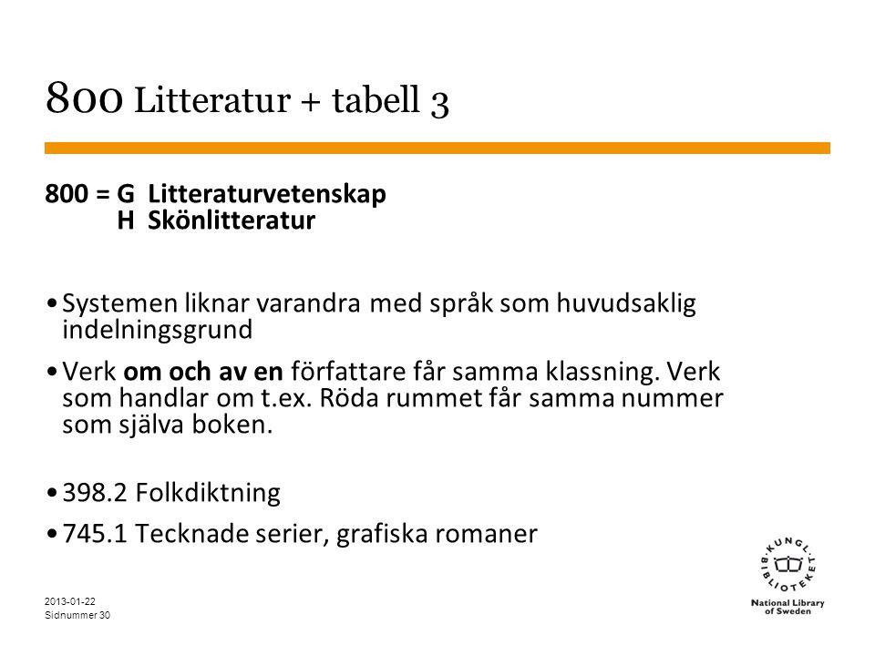 800 Litteratur + tabell 3 800 = G Litteraturvetenskap H Skönlitteratur