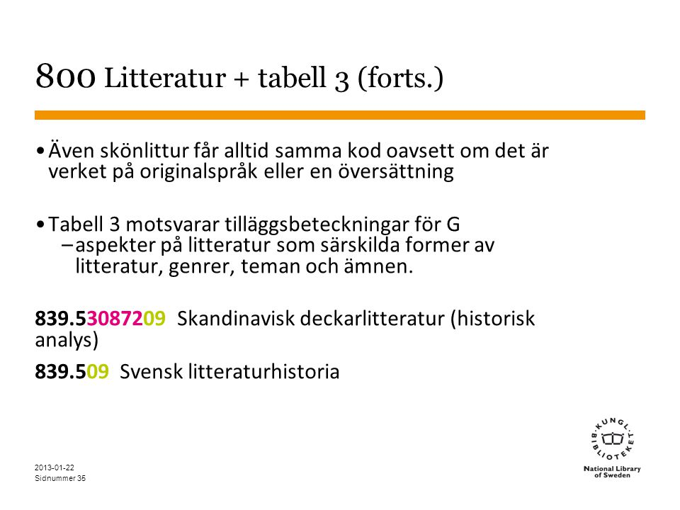 800 Litteratur + tabell 3 (forts.)