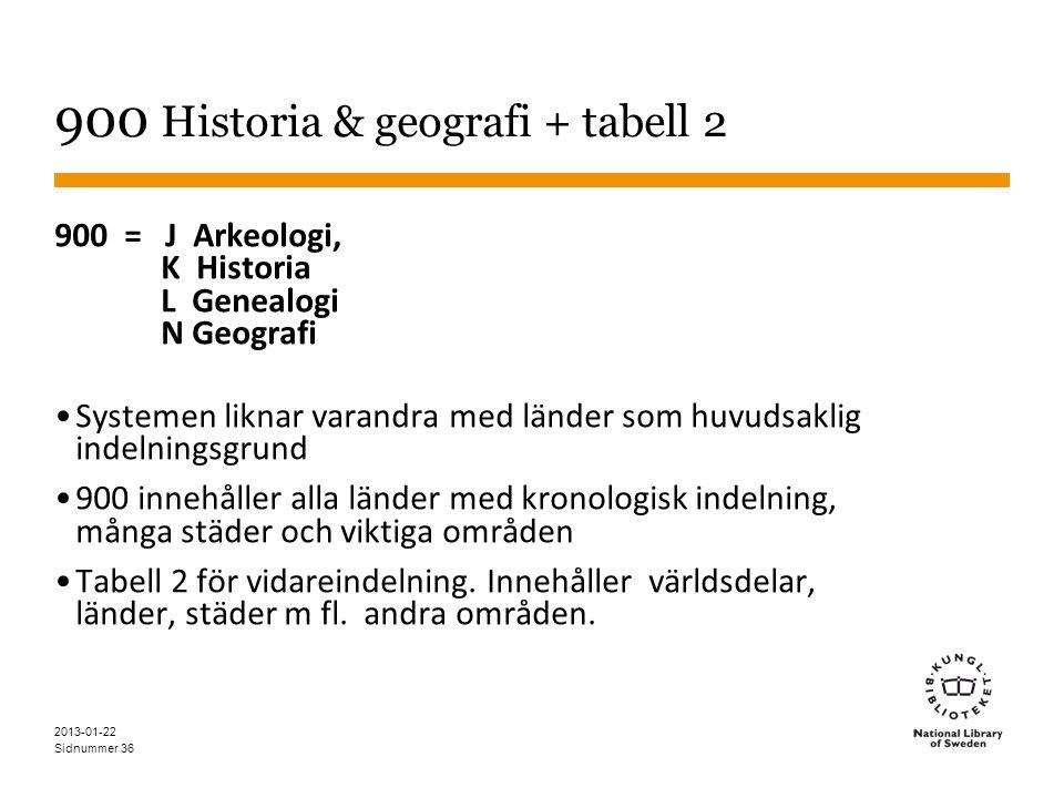900 Historia & geografi + tabell 2