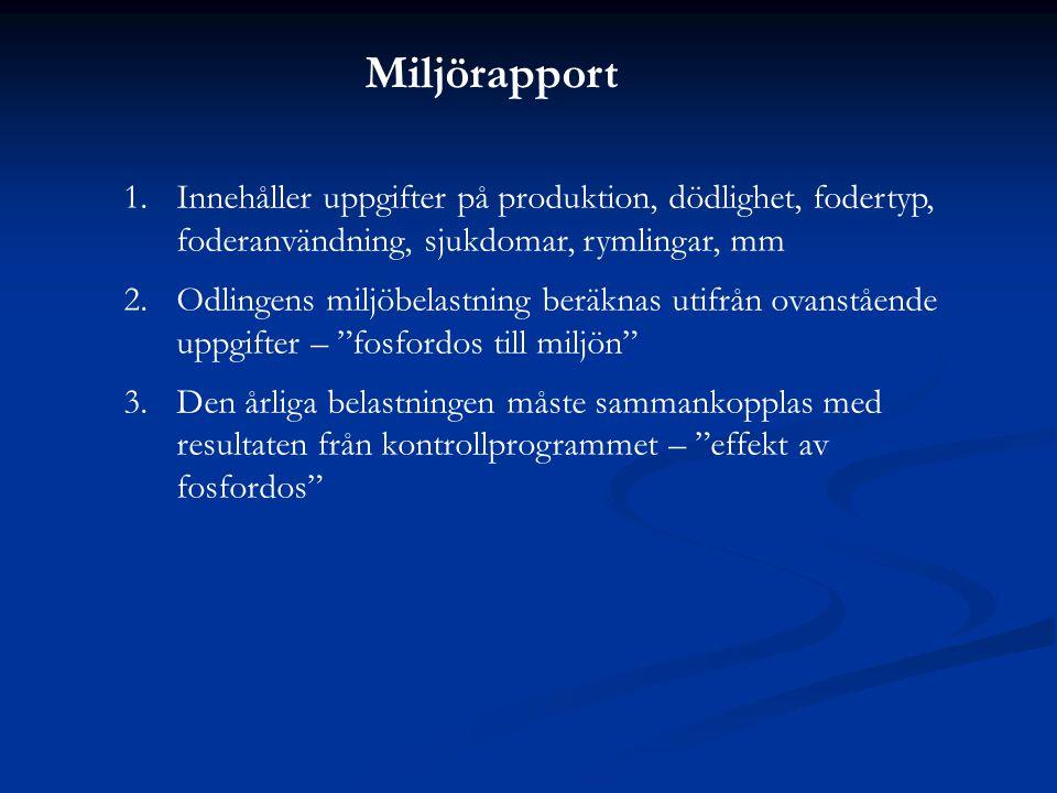 Miljörapport Innehåller uppgifter på produktion, dödlighet, fodertyp, foderanvändning, sjukdomar, rymlingar, mm.