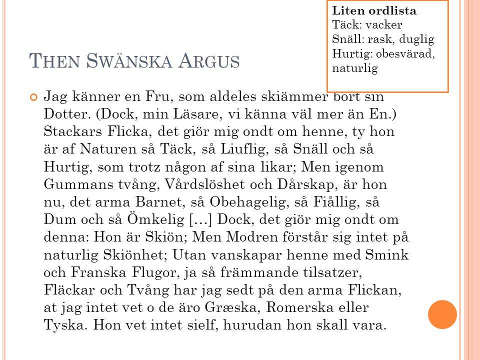 Liten ordlista Täck: vacker. Snäll: rask, duglig. Hurtig: obesvärad, naturlig. Then Swänska Argus.