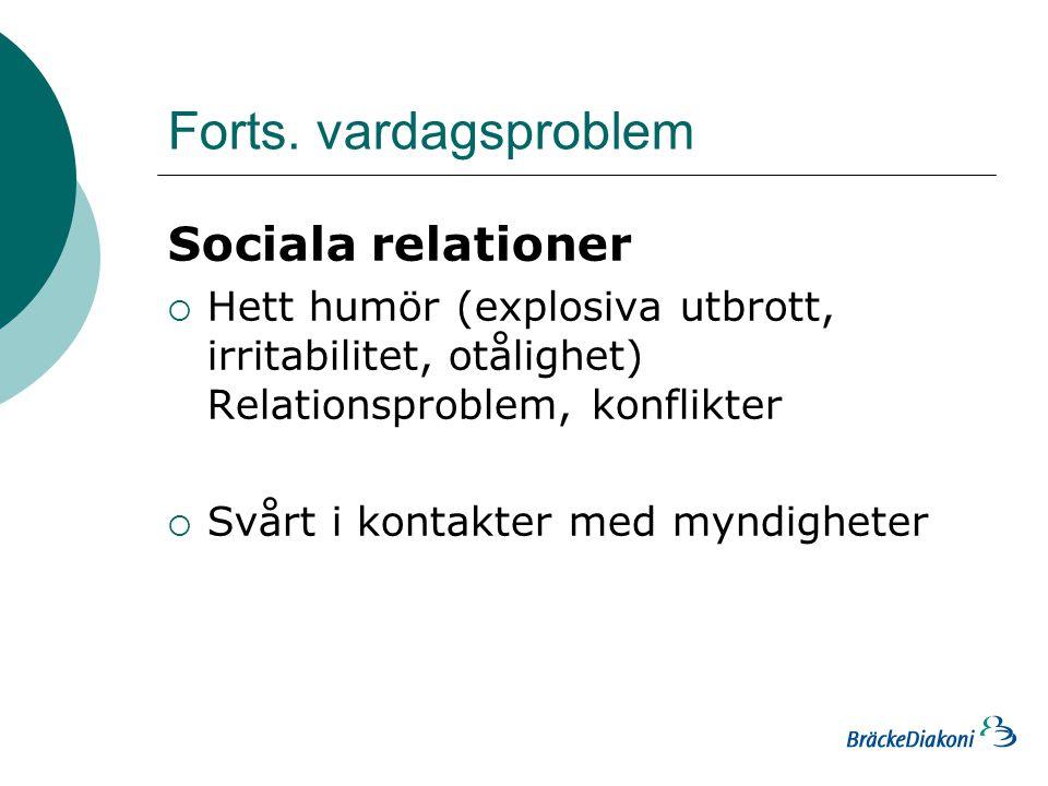 Forts. vardagsproblem Sociala relationer