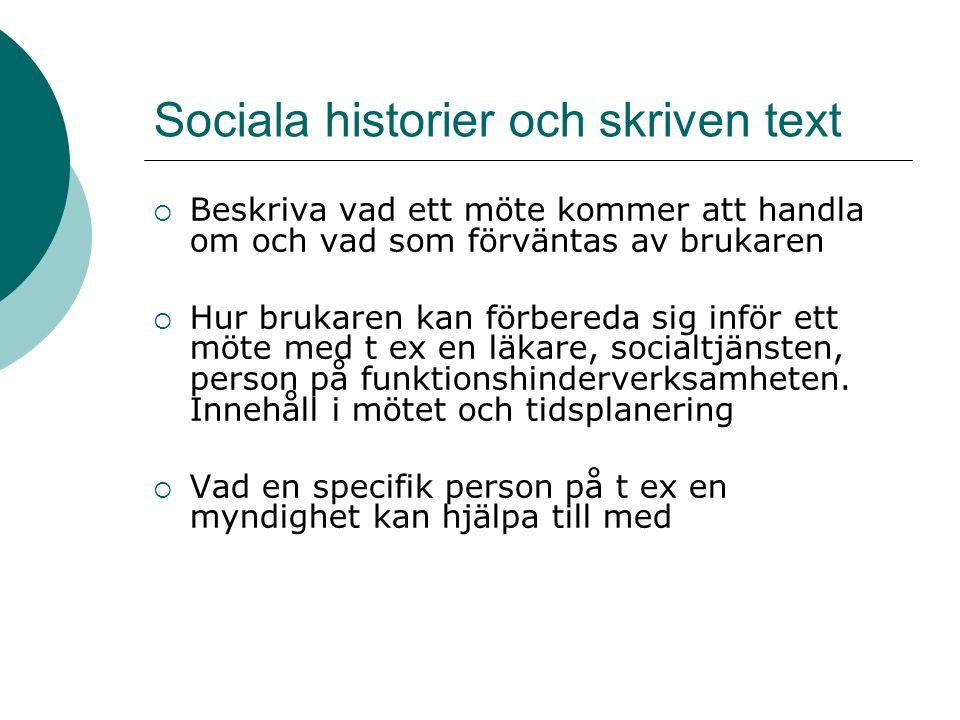 Sociala historier och skriven text