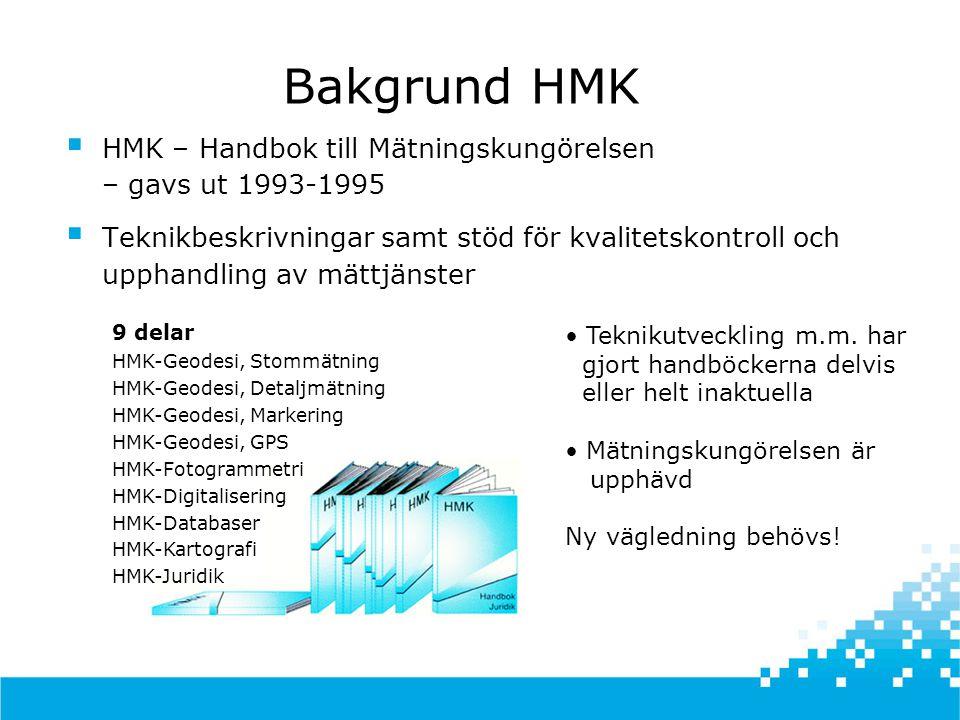 Bakgrund HMK HMK – Handbok till Mätningskungörelsen – gavs ut 1993-1995.
